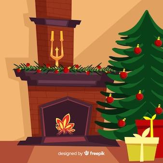 Christmas fireplace beautiful illustration