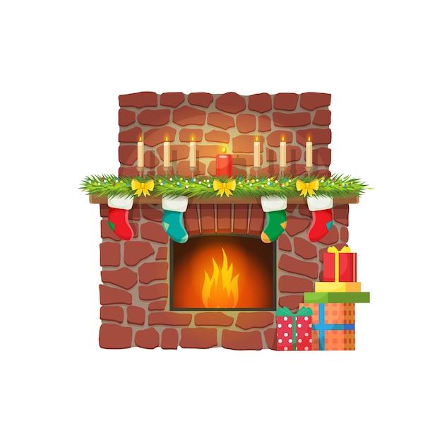 Christmas fireplace, candles and santa gift socks