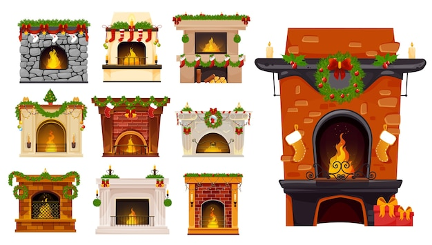 Christmas fireplace cartoon set of xmas holiday fire places with christmas tree wreaths, santa stocking socks and gifts, holly berry garlands, balls and candles. winter holiday room interior