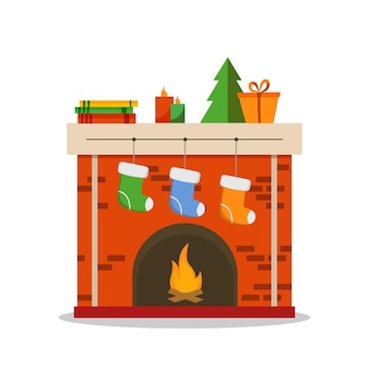 クリスマス暖炉アイコンフラットイラスト白い背景で隔離、ベクトル