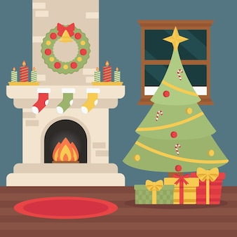 Christmas fireplace illustration in flat design