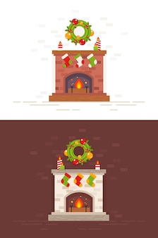 Christmas fireplace isolated illustration in flat style