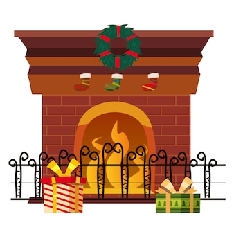 Christmas fireplace isolated with holiday decorations and gifts.