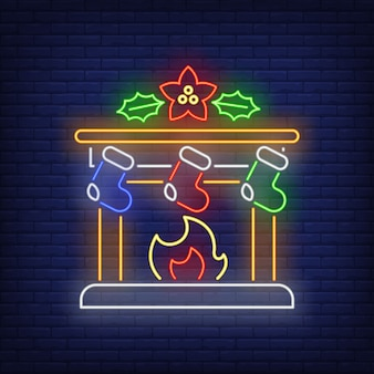 Christmas fireplace in neon style