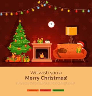 カラフルな漫画のフラットスタイルのクリスマス暖炉の部屋のインテリア。クリスマスツリー、ギフト、デコレーション、電球チェーン、ソファ、暖炉。居心地の良いノエルクリスマス夜のお祝いのインテリアイラスト。