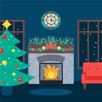 クリスマスの暖炉のシーンと雪の天気