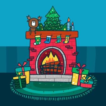 クリスマスの暖炉のシーンとおもちゃ