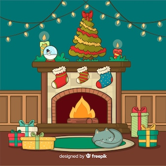 Christmas fireplace scene background