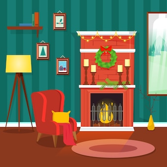 Christmas fireplace scene concept in flat design
