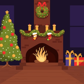 Christmas fireplace scene concept in hand drawn