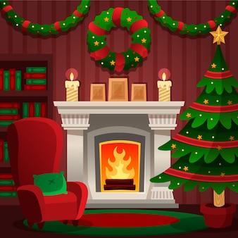 フラットなデザインのクリスマス暖炉シーンコンセプト