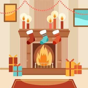 手描きのクリスマス暖炉シーンコンセプト