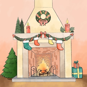 Christmas fireplace scene concept in watercolor