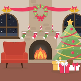 Christmas fireplace scene in flat design