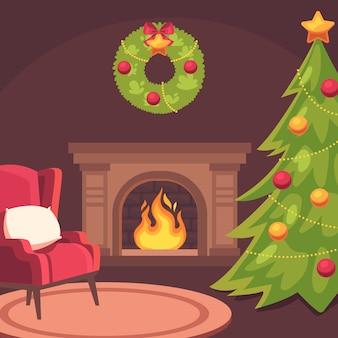 Christmas fireplace scene in flat design