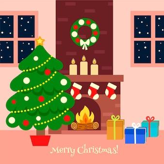 フラットなデザインのクリスマス暖炉シーン
