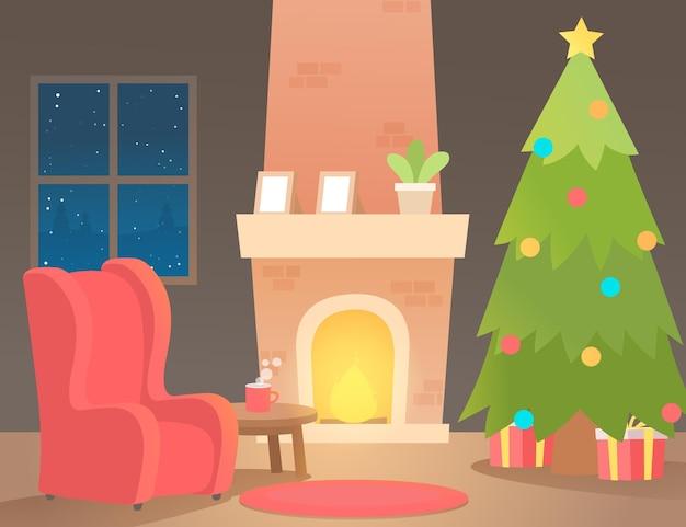 フラットなデザインのクリスマス暖炉のシーン