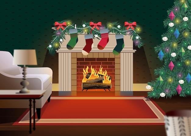 평면 디자인에 크리스마스 벽난로 장면