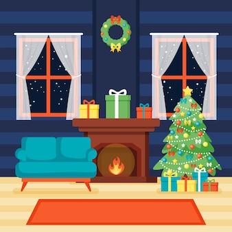 室内のクリスマス暖炉シーン