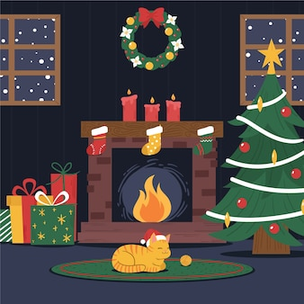 Christmas fireplace scene with cute cat wearing santa's hat