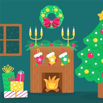ソックスとギフトのクリスマス暖炉シーン