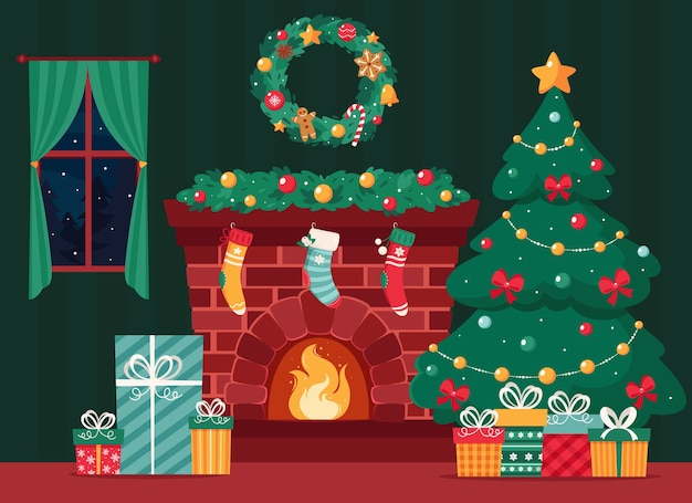 Christmas fireplace with fir tree gifts wreath stockings garland