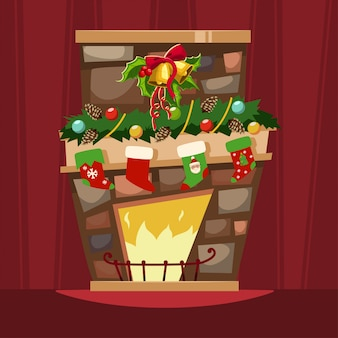 Christmas fireplace with a mantle, stockings for gifts and holly berry leaves with a bell. cartoon  of xmas festive decorations