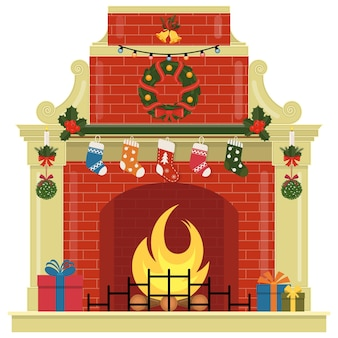 Christmas fireplace with socks, gifts, decorations and wreath.