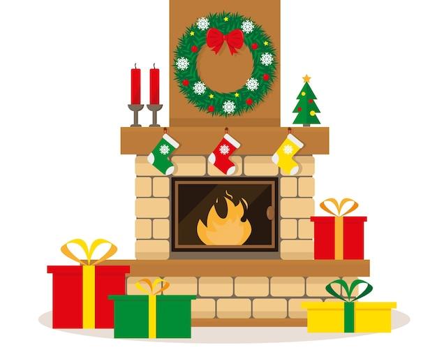 Рождественский камин с венком, свечами, украшениями и подарками в коробках.