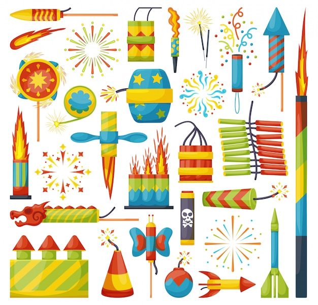 Christmas firework cartoon icon set