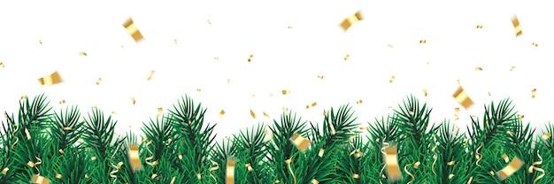 紙吹雪とクリスマスのモミの木の枝