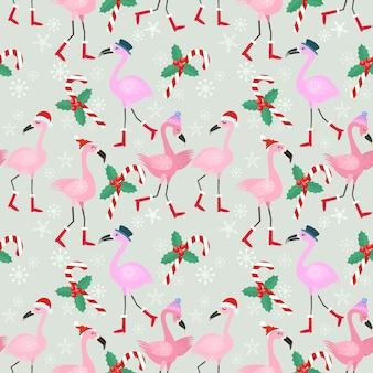Christmas flamingo seamless pattern.