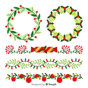 Christmas flat borders and wreaths