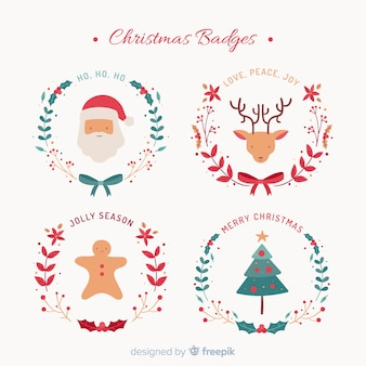 Christmas flat characters badges collection