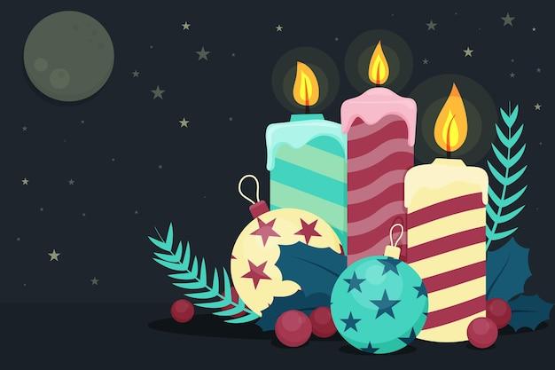 Рождественский плоский дизайн фона со свечами