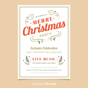 Christmas flat design party poster template