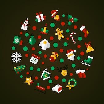아이콘으로 크리스마스 플랫 디자인 엽서