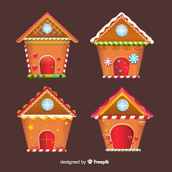 Christmas flat gingerbread house pack