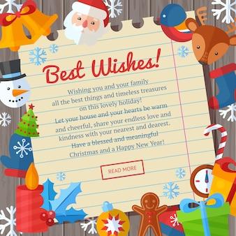 Christmas flat greeting cards and banners santa, deer, xmas tree