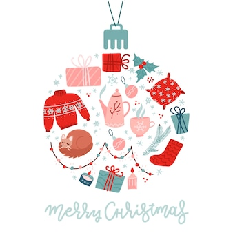 Christmas flat icons set circular shaped. holiday items shaped as christmas bauble.