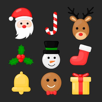 Christmas flat icons set with santa claus isolated on black