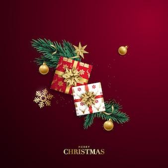 赤い背景にクリスマスフラットレイ構成