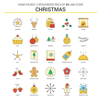 Christmas flat line icon set