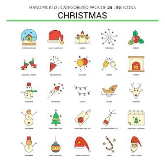 Christmas flat line icon set
