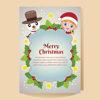 Christmas flat poster with christmas characters