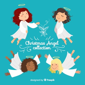 Christmas flat smiling angels collection