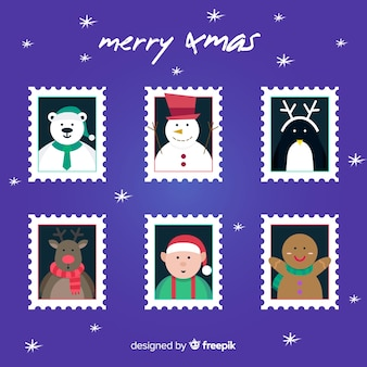 Christmas flat stamp collection