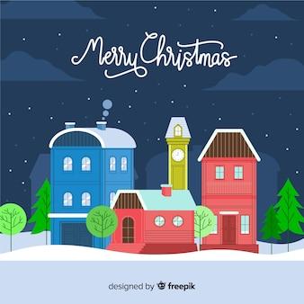 クリスマスフラットタウンの背景