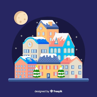 Christmas flat town background