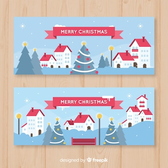 Christmas flat town banner